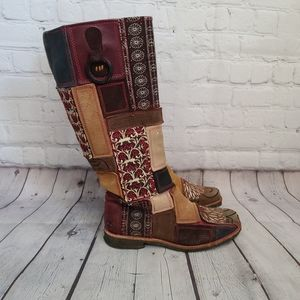 Timberland Boho Patchwork Leather Knee High Boots